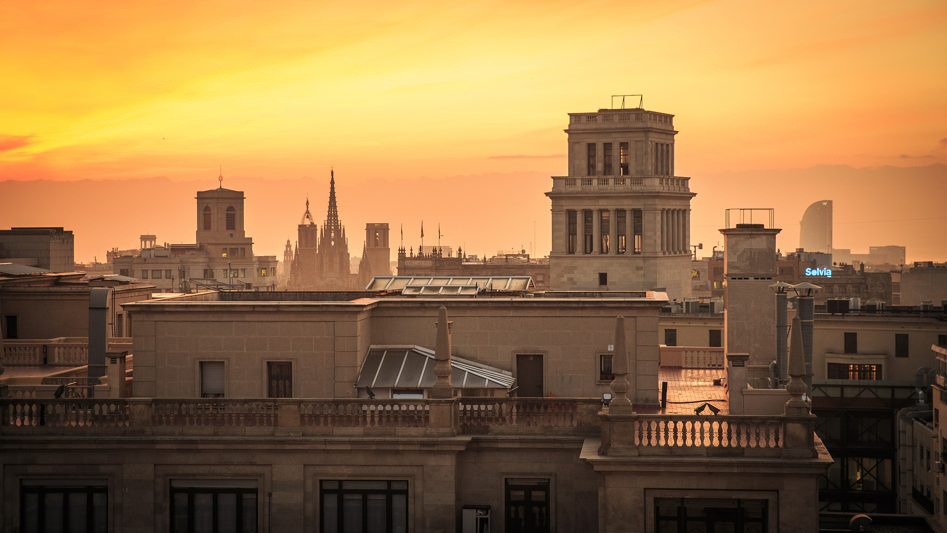 barcelona-city-scape-sunset