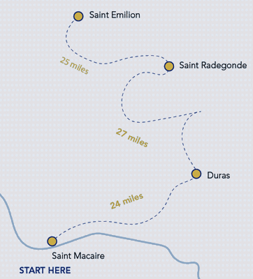 Wines, Vines and Sunshine in Bordeaux - Route Map