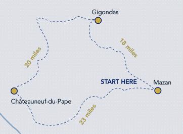 Côtes du Rhône Cycling Holiday - Route Map