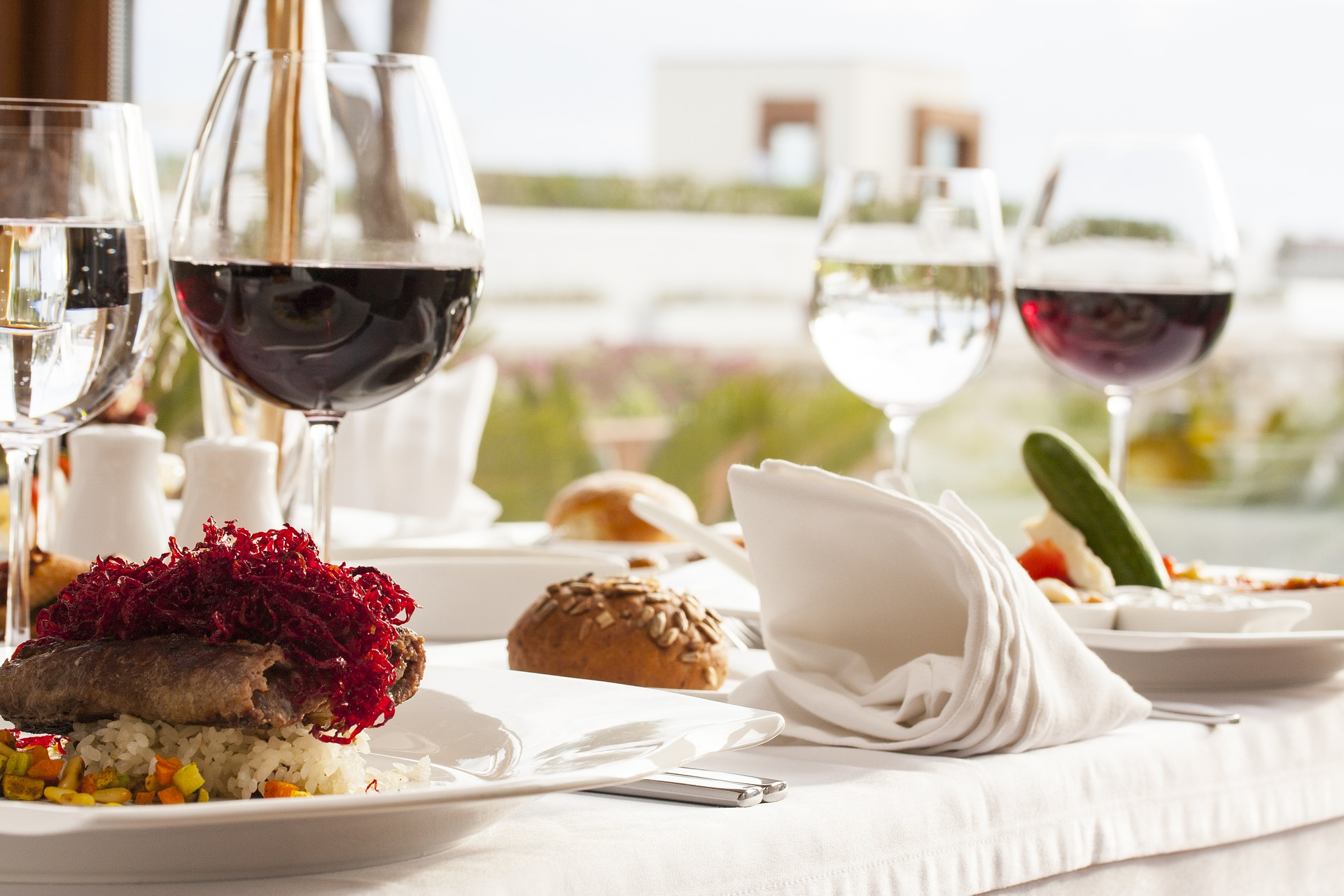 Gourment food red wine